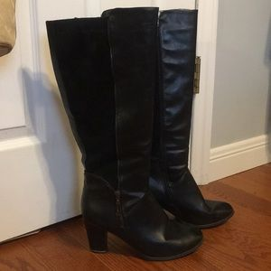 BLACK FAUX SUEDE AND LEATHER KNEE HIGH BOOTS